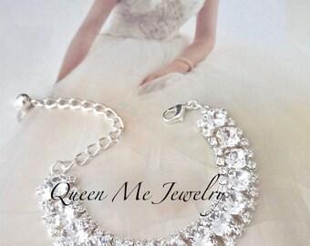 Swarovski silver crystal bracelet Crystal cuff wedding bracelet Crystal statement bracelet Brides crystal bracelet Bridal bracelet SOPHIA