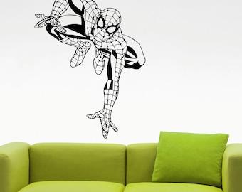 Spiderman Wall Decal Comics Superhero Sticker Vinyl Wall Decoration Kids Room Decor Removable Mural 3ecc