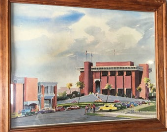 Mid Century Architectural Watercolor Print by Richard Lewis