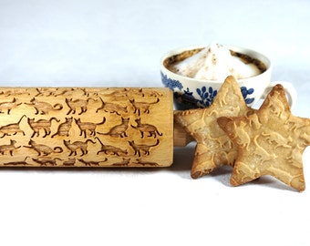 Beautiful Cats - Embossing,engraved rolling pin for cookies, unique christmas gifts