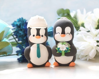 Custom Penguin cake toppers wedding - construction hard hat - LARGER size - unique figurine bride groom profession job engineer mason cute