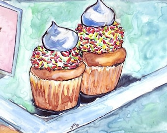 Kitchen Watercolor Art Painting, Cupcakes with Sprinkles Watercolor Art Print, 5x7 Wall Art