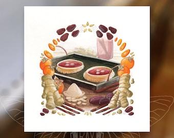"Sujeonggwa 6"" Print - Food of Korea Series"