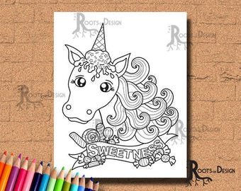 INSTANT DOWNLOAD Ice Cream Unicorn (Horse) Art Coloring Print, doodle art, printable