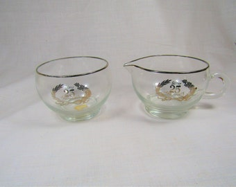 25th Anniversary Cream and Sugar - West Virginia Glass - Vintage Clear Glass - Silver Trim