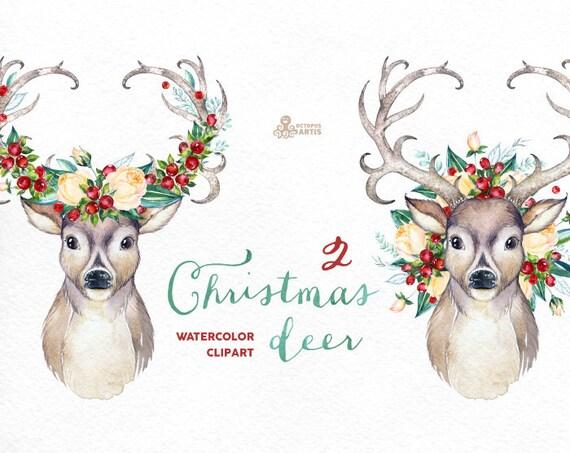 Christmas Deer 2. Watercolor Deers Antlers Flowers Hand