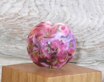 Handmade Glass Lampwork Lentil Focal Bead - Fireworks