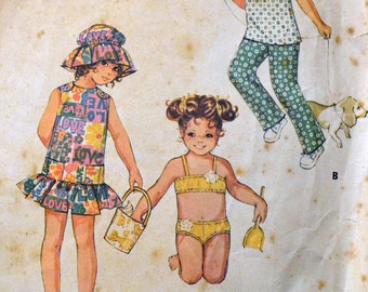 Vintage Sewing Pattern McCall's 2414 Girl's Beach Outfits Size 6 Breast 25 inches Complete