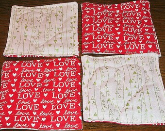 50% OFF Quilted Valentine's Day Coasters, L-O-V-E, Were 10.00