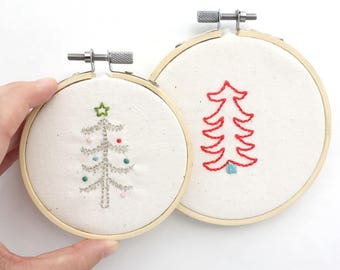 Mini Christmas Trees Holiday Embroidery PDF Pattern for ornaments and Gifts under 20