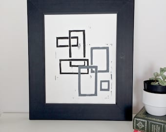 Linocut Geometric Mid Century Modern art POSTER Black and Gray Squares 8x10
