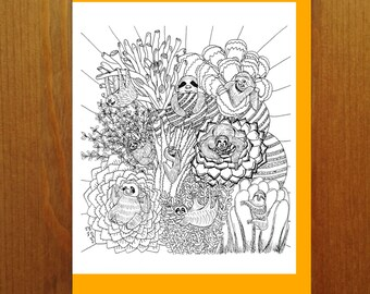 Sloths and Succulents Color Your Own Greeting Card - Adult Coloring Card