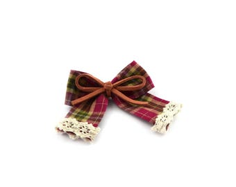 Burgundy Plaid bow with lace