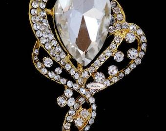 Gold Rhinestone Brooch Pin Supply Brooch Bouquet Jewelry Flatback Hair Invitation Accessories Wedding Bridal Jewelry DIY Supply RD230