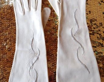 Vintage 1950s Gloves 50s Suit Gloves Formal Buckskin Tan Cotton Sz 6