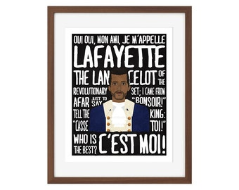 "Hamilton musical quote print - Marquis de Lafayette - ""Oui oui, mon ami..."" (Aaron Burr, Sir)"