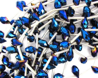 "6x12mm faceted quartz teardrop beads 15.5"" strand rainbow blue 17667"