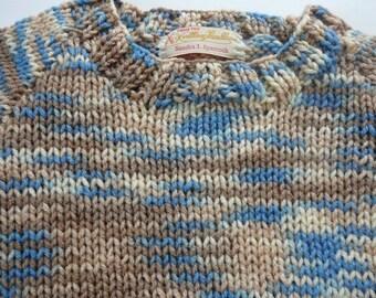 Knit Raglan Sweater/Kids/Blue/Taupe/Ivory/Acrylic            Size 4T              READY TO SHIP