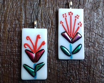 Funky Flowers fused and dichroic glass pendants in white.