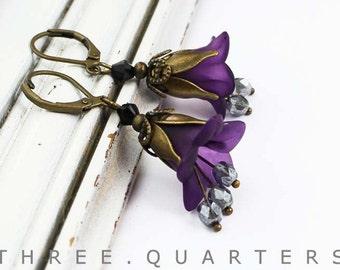 Earrings, purple, black, flowers, gray, petals, dark, wedding, flowers, vintage boho,, bridesmaid, purple, bride, antique
