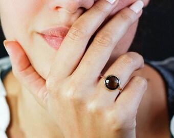 Smoky Quartz Ring, Smoky Quartz Gold Ring, 14K Solid Gold Ring, Brown Stone Ring, Brown Gemstone Ring, Solitaire Ring, Mothers Day, GR0230