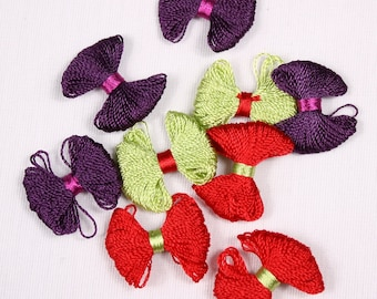 8 knots 25mm, rayon, red, purple or green (9588)