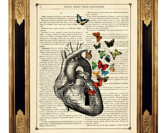 Anatomical Heart with Butterflies flying out of Keyhole - Vintage Victorian Book Page Art Print Steampunk