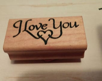 Retired Rubber Stamp - I  Love You w/ Sm. Heart