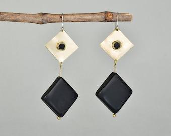 Black stone earrings, long earrings, tagua jewelry, onyx earrings, exotic charm, diamond shape dangle, brass drops, tumbaga jewelry.