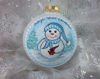 Baby Boy's First Christmas Ornament, Snowbaby, Inscribed Free, Blue and White, Baby Gift,  Christmas Keepsake
