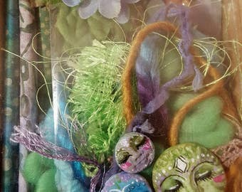 DIY Art Doll/Mixed Media- Fiber Art Assemblage doll/ Kitchen Witch/ Spirit doll/ Inspiration kit- Green Goddeess