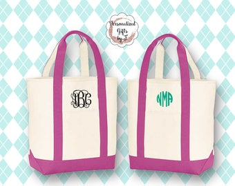 NEW!! Beach Bag Tote, Monogrammed Tote Bags, Beach Tote, Premium Canvas Beach Bag, Personalized Canvas Tote, Large Tote Bag, Bridesmaid Gift