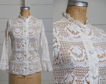 70s Cotton Crochet Blouse Open Knit Bell Sleeve Button Down Dolly Blouse