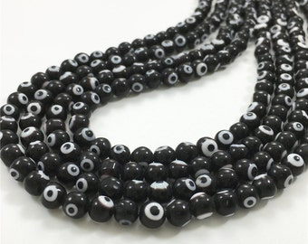 6mm Black Evil Eye Beads, Round Glass Beads, Wholesale Beads
