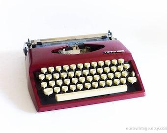 Vintage Burgundy Typewriter / Working Typewriter / Triumph Adler Tippa-S