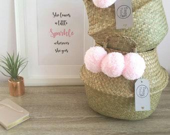 Pom Pom Seagrass Belly Basket /Seagrass Storage Basket Set/ Storage Basket/ Panier Boule/Toy Storage/ Planter