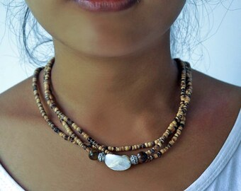 Coconut Shell Necklace, Multi Strand Necklace, Coconut Shell Headband