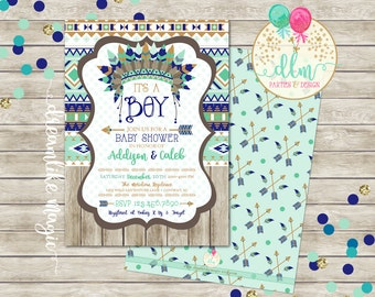 Little Chief Baby Shower Invitation, Tee Pee Invitation, Gray Arrow Invitation, Arrow Baby Shower Invite, Aztec Baby Boy,  Navy and Mint
