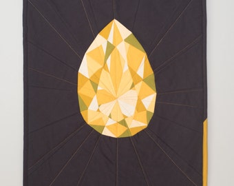 Geometric Art - Topaz Wall Hanging - Quilted Teardrop Gem