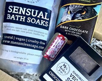 Chocolate + Rose Themed Gift Box | Selfcare Kit | Beauty Box | Bath Box | Vegan + Cruelty Free Gifts | Hippie Gift | Zero Waste Gift