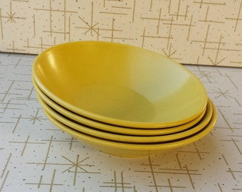 Melmac Bowls Four Small Plastic Dishes Harvest Gold 60's Melamine