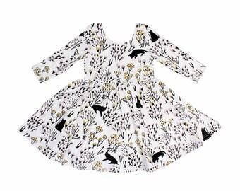 Cat Dress- Girls Twirl Dress- Floral Print Dress- Toddler Dress- Baby Dress- Easter Dress- Organic Cotton Girls Clothes- Hand Printed Dress