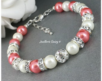 Coral Bracelet Bridesmaid Gift Coral and Ivory Bracelet Bridesmaid Bracelet Coral and Ivory Bracelet Coral Wedding 2018 Maid of Honor Gift