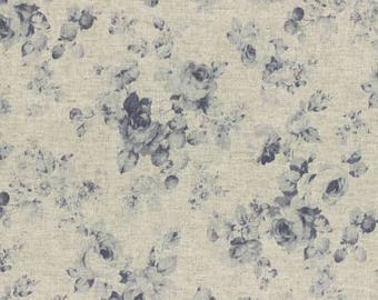 Durham by Lecien 2017  Squares of floral Print in blues 31468-70 Cotton Linen