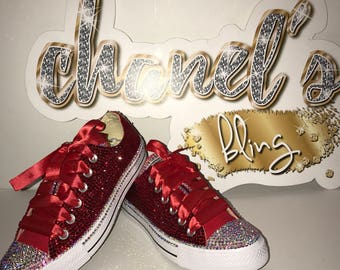 Red Rhinestone Bling Bedazzle Bling All Star Chuck Taylor Sneakers Low-Top