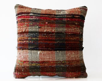 18/18 Hand woven Kilim Cushion cover Striped Wool Turkish Sham Rustic Pillow Case Shabby chic Living room Home Decor Modern Decor