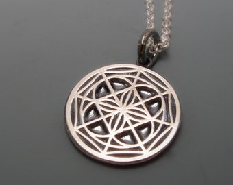 NEW Small Sterling Silver universal pattern pendant on a 22 inch link chain by cristina hurley