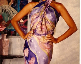 Hand Painted Custom Tropical Sarong,Made to Order, Honeymoon, silk sarongs,wedding truseau,silk wraps,one of a kind,