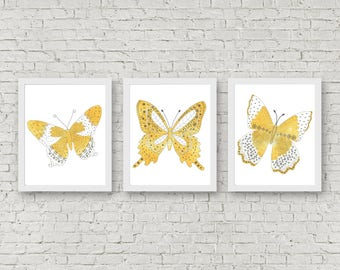 Yellow & Grey Set Of 3 Art Prints - Nursery / Girls Room Watercolor Butterfly Printable Wall Art - Office / Bathroom Wall Decor - Digital