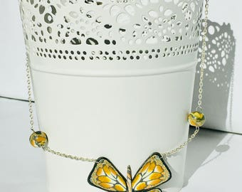 Grey Butterfly Necklace / yellow/gold